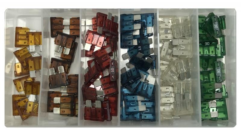 100 Piece ATO/ATC Blade Type Fuse Assortment - USA Made Car Fuses